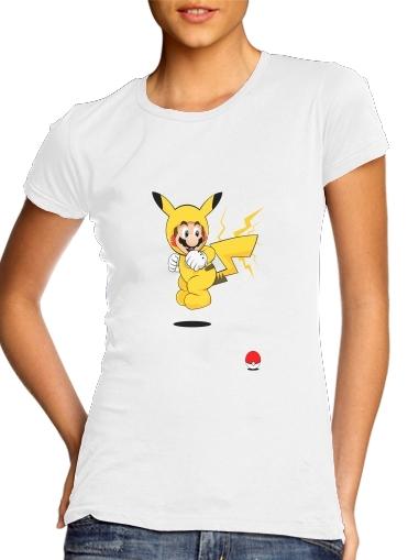 Mario mashup Pikachu Impact-hoo! für Damen T-Shirt