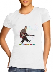 Women T-shirt short sleeve round neck  Marty McFly plays Guitar Hero