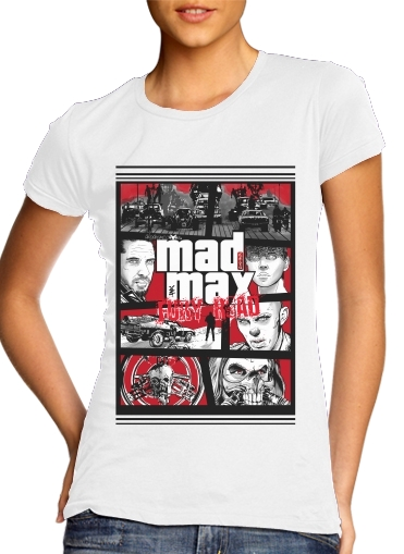 Women T-shirt short sleeve round neck  Mashup GTA Mad Max Fury Road