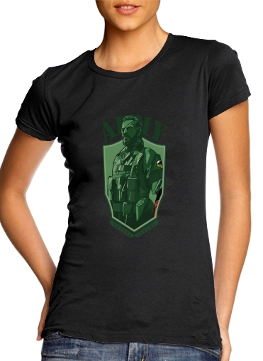 Women T-shirt short sleeve round neck  MGS Phantom Pain Army Men Big Boss Diamond Dogs
