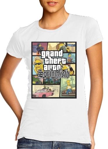 Simpsons Springfield Feat GTA für Damen T-Shirt