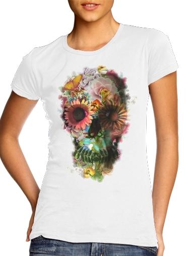 Skull Flowers Gardening für Damen T-Shirt