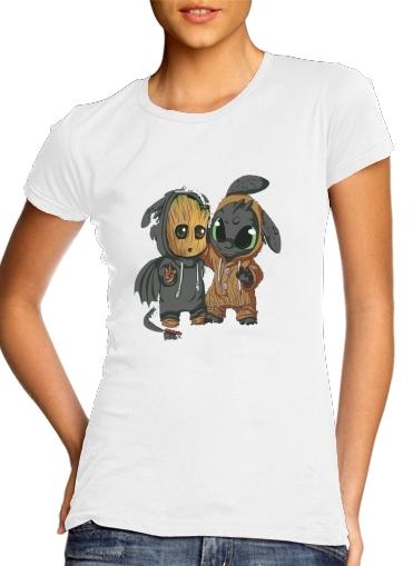 Groot x Dragon krokmou für Damen T-Shirt