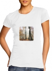 Women T-shirt short sleeve round neck  Sun rays in a mystic misty forest
