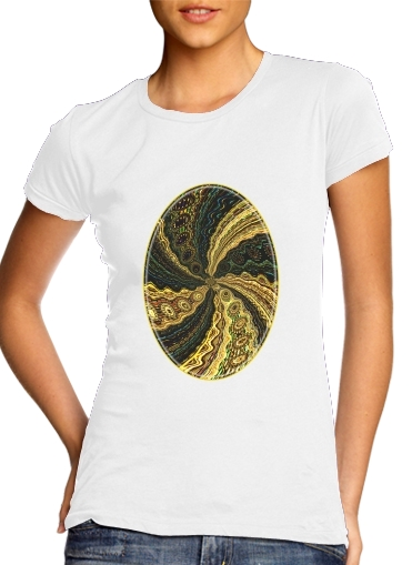 Women T-shirt short sleeve round neck  Twirl and Twist black and gold