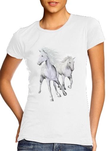 White Horses On The Beach für Damen T-Shirt