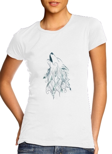 Women T-shirt short sleeve round neck  Wolf